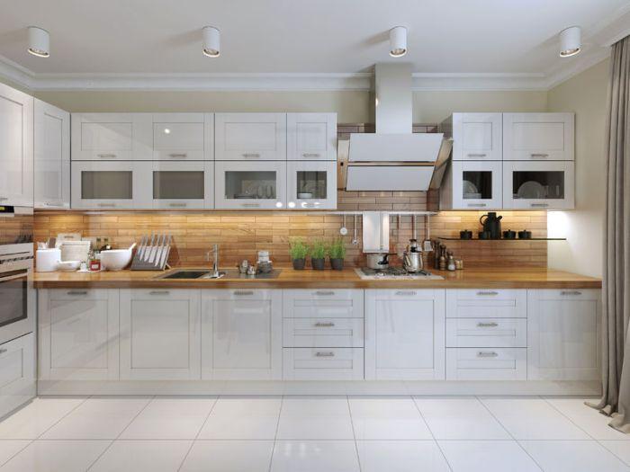 Informacje Białe Kuchnie Z Drewnianym Blatem Rustykalnie
